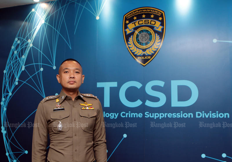 Deputy TCSD commissioner Siriwat Dipho announces the arrest of the administrator of the