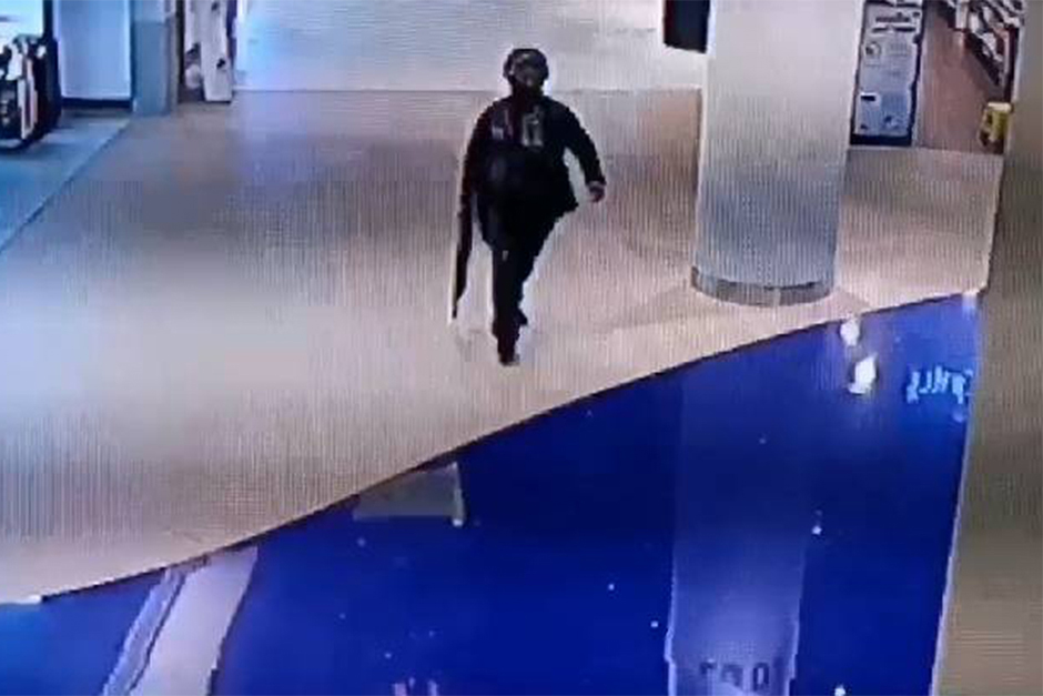 The shooter enters the Terminal 21 shopping mall in Muang district of Nakhon Ratchasima on Saturday. — CCTV via Royal Thai Police