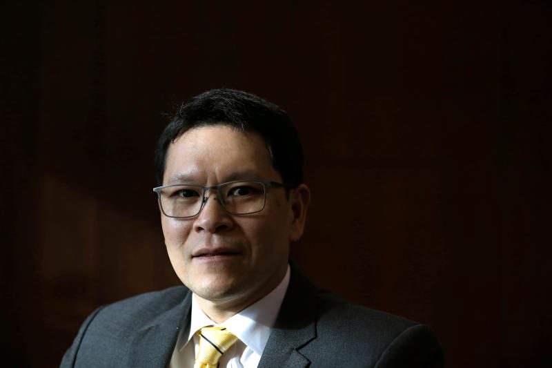 FILE PHOTO: Bank of Thailand governor Veerathai Santiprabhob poses during an interview with Reuters at the Bank of Thailand headquarters in Bangkok, April 1, 2019. (Reuters)