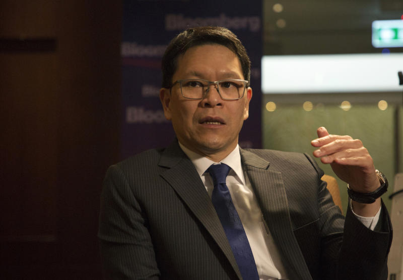 Bank of Thailand governor Veerathai Santiprabhob speaks during a Bloomberg Television interview on Wednesday. (Bloomberg photo)