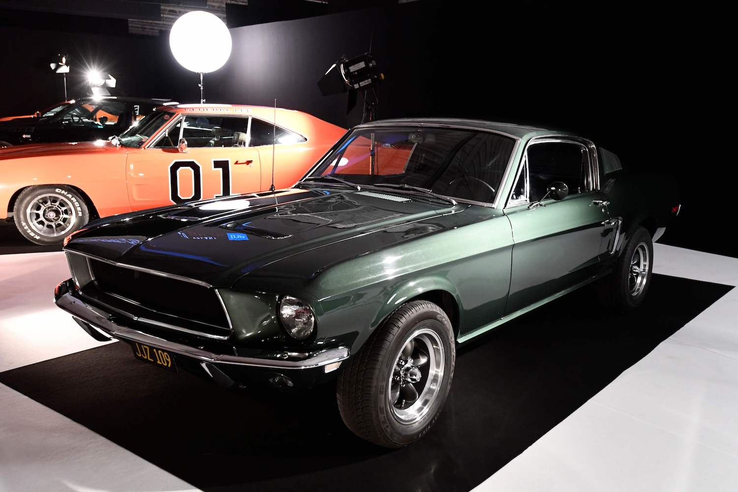 The 1968 Ford Mustang GT 390 car used in the Steve McQueen film Bullitt is seen  during the Paris Motor Show in 2016. (AFP Photo)