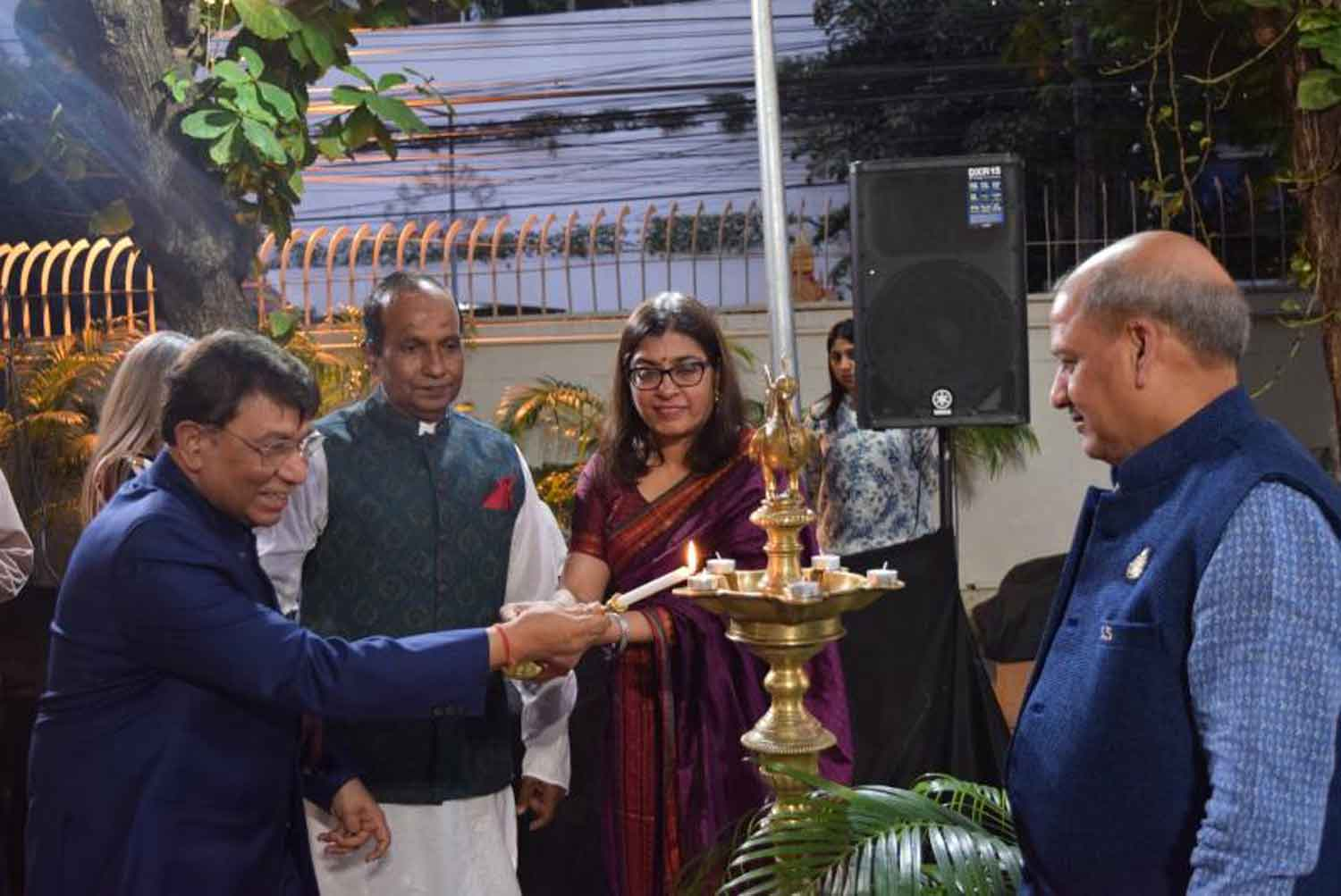 Suchitra Durai, the ambassador of India to Thailand, is lighting a candle to celebrate Pravasi Bharatiya Divas on Jan 9th. The photo was provided by courtesy of the Embassy of India.
