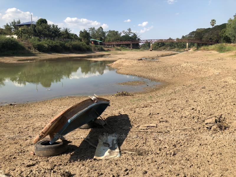 The Yom River is dry due to widespread drought in Phichit provinces. (Photo by Sarot Meksophawannakul)