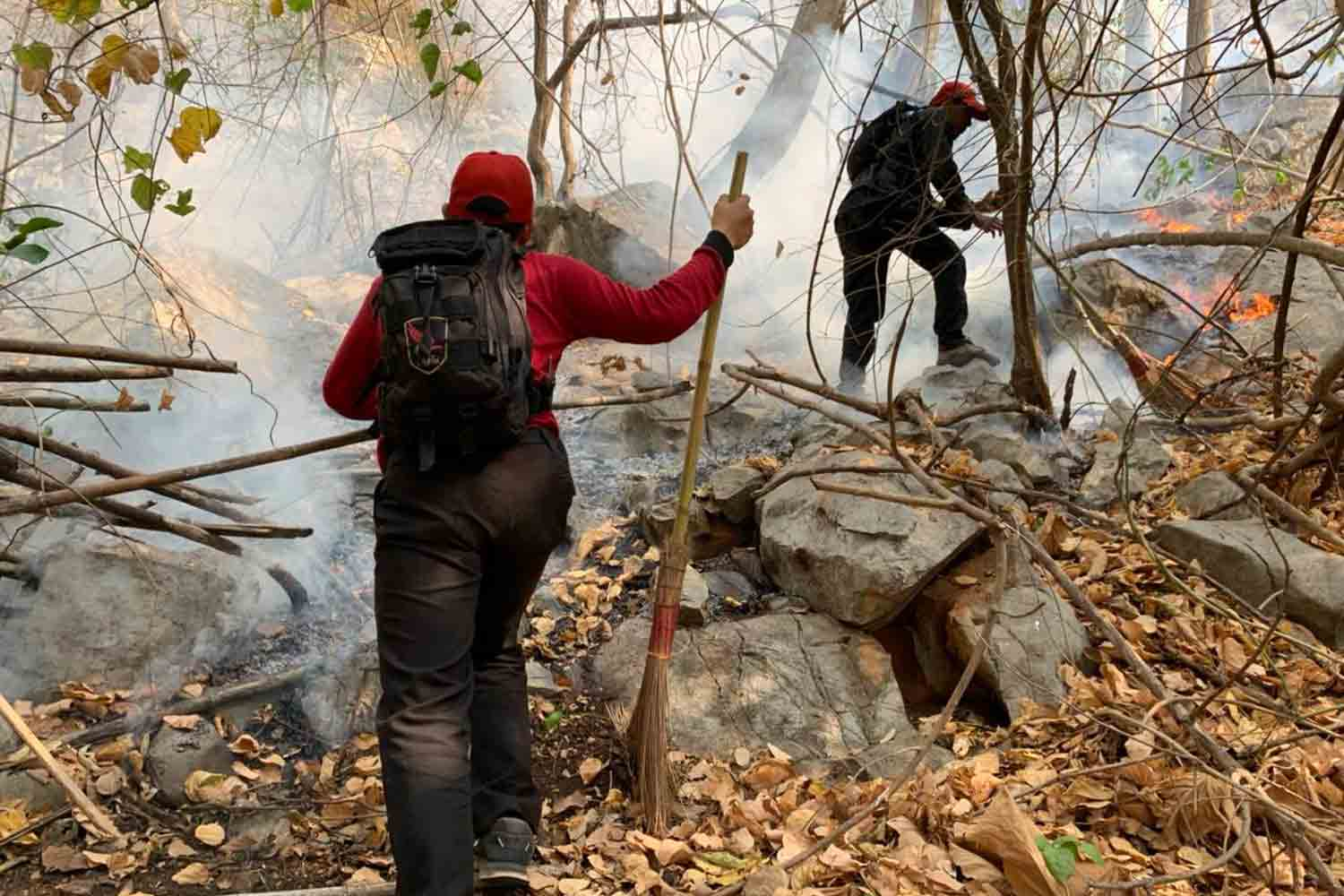 Firefighters combat one of several fires that have burned in forest in Khao Yai National Park since early in January. The fires were declared under control on Monday. (Photo by Prasit Tangprasert)