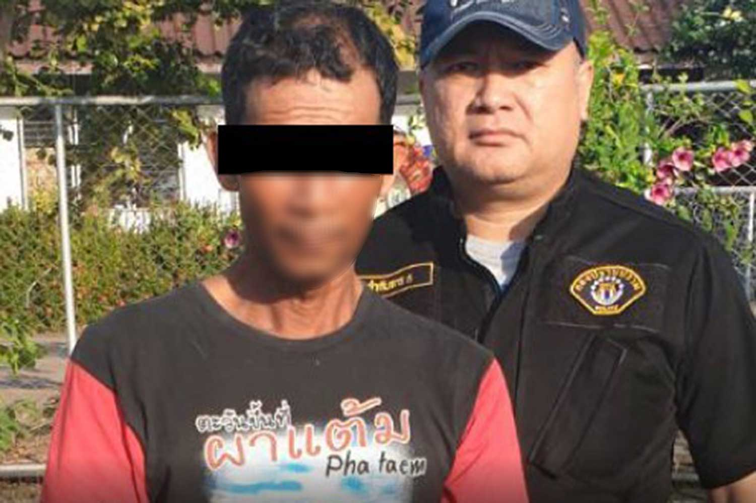 A 51-year-old man arrested for allegedly raping his 12-year-old granddaughter and getting her pregnant. (Photo from Crime Suppression Division Facebook page @csdthai)