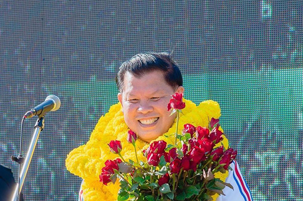 An arrest warrant is out for Vipot Aponrat, a Palang Pracharath Party MP for Kamphaeng Phet, after he failed to appear for the reading of the Supreme Court's rejection of his appeal against a prison sentence for helping organise the violent incursion that shut  down the Asean summit in 2009. (Photo from Vipot Aponrat Facebook account)