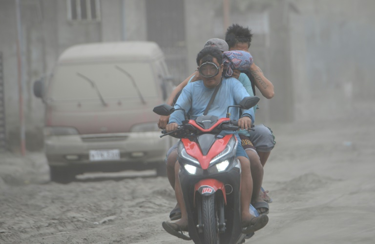 Agoncillo town in the Philippines' Batangas province has been blanketed with ash from the Taal volcano.