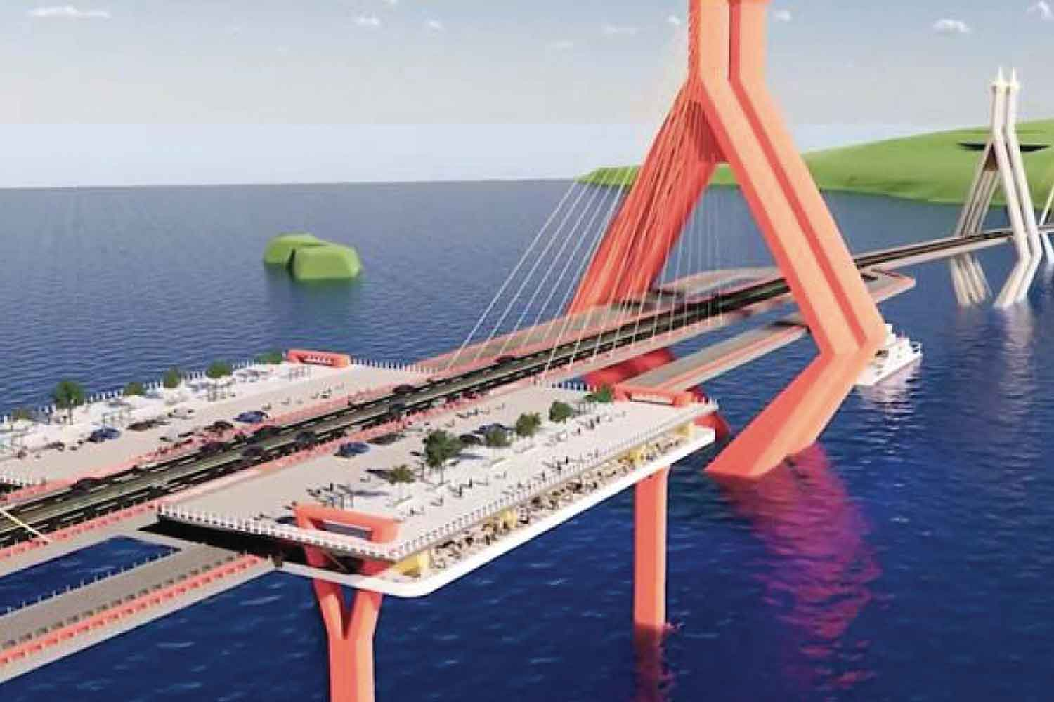 Prime Minister Prayut Chan-o-cha says he will not allow his first or last name to be used for a proposed bridge from the southern mainland to Koh Samui.  (Photo from tourism business operators)