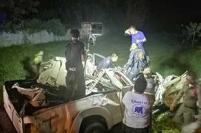 Swerving pickup kills couple, their 2 children in Buri Ram