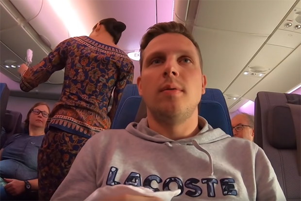 "A screenshot of the 11-minute video titled "" ""Singapore Airlines economy class — not worth the dollar!"", which has drawn 170,000 views. (Photo from Josh Cahill YouTube via TODAY)"