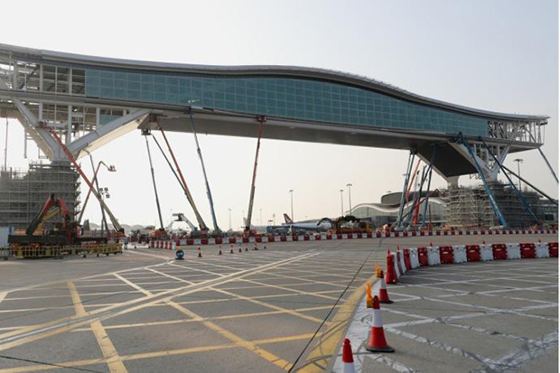 The new skybridge is under construction to upgrade Hong Kong International Airport's infrastructure and facilities. (South China Morning Post photo)