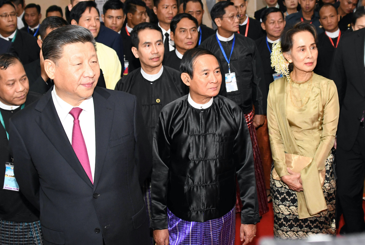 Chinese President Xi Jinping, Myanmar President Win Myint and State Counsellor Aung San Suu Kyi attend a cermony marking the 70th anniversary of diplomatic relations between the two countries in Nay Pyi Taw on Saturday. (Myanmar News Agency/Pool via Reuters)