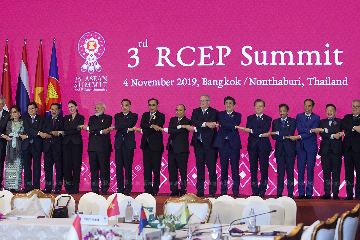 Leaders and representatives of the 10 Asean countries and six dialogue partners, namely China, Japan, South Korea, India, Australia and New Zealand, at the 3rd RCEP Summit.