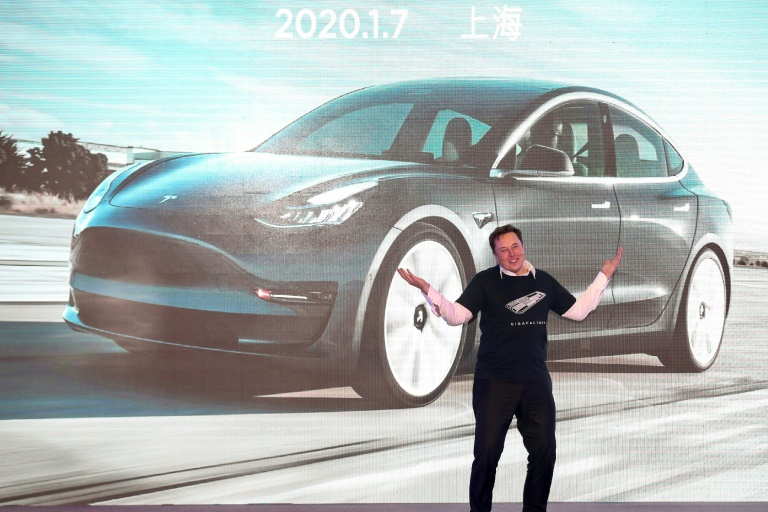 Tesla chief Elon Musk, during the delivery ceremony for the firm's China-made Model 3 in Shanghai in January 2020.