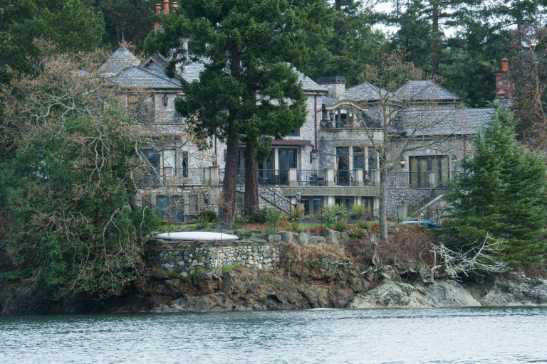 Prince Harry, his wife Meghan and their son Archie are currently living in Mille Fleurs, a mansion in the seaside community of North Saanich on Canada's Vancouver Island -- the home is seen from a boat on the Saanich Inlet.