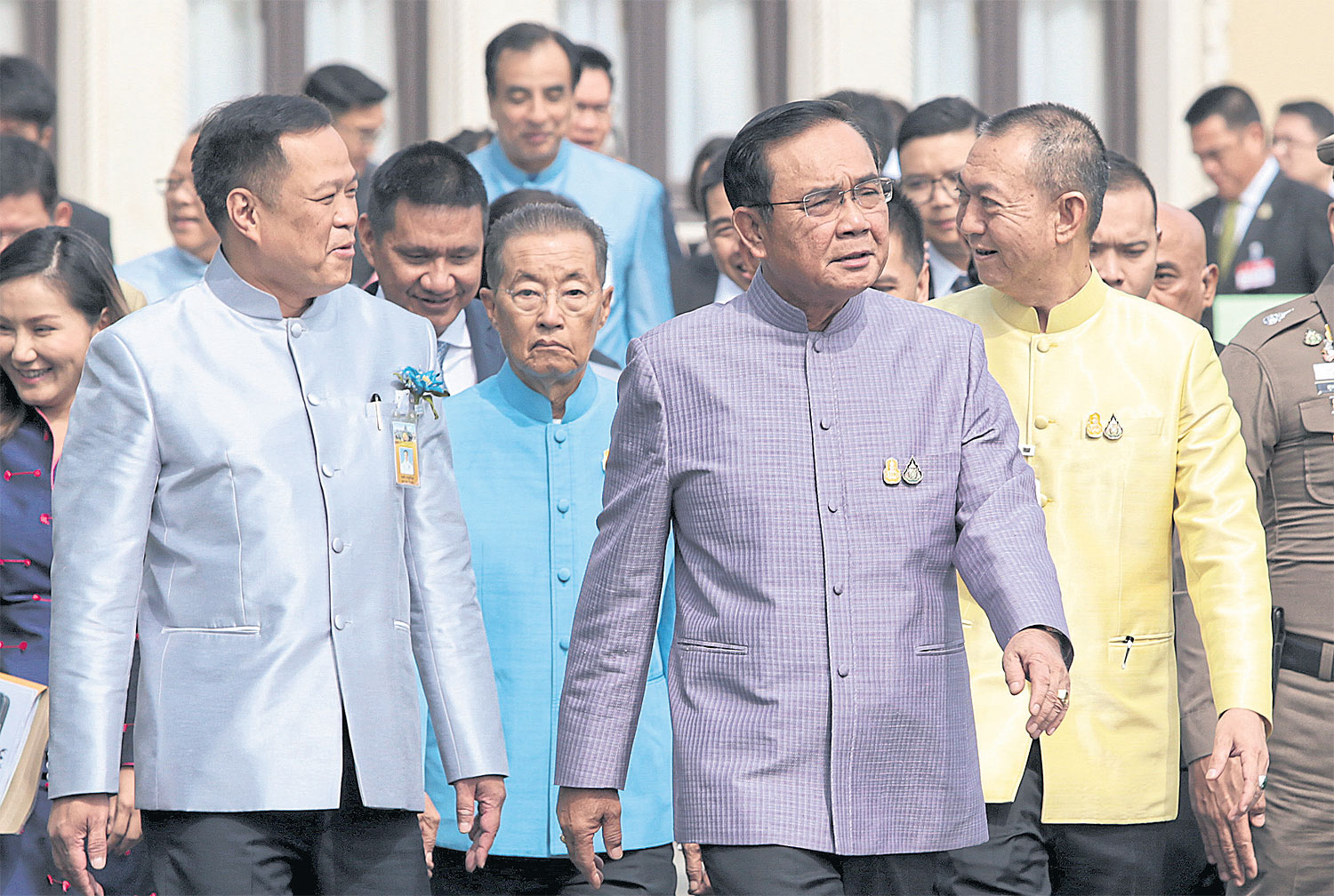 Prime Minister Prayut Chan-o-cha and some of his cabinet ministers. A series of crises demonstrates the failure of an authoritarian-bureaucratic state under his leadership. Chanat Katanyu