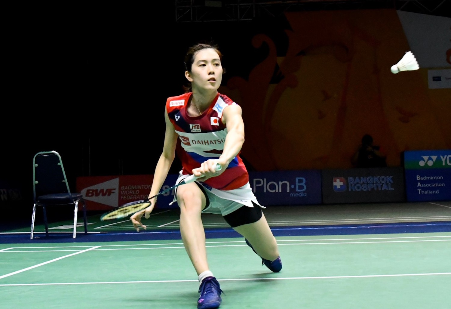 Aya Ohori in action against Ratchanok Intanon at Indoor Stadium Huamark on Friday.