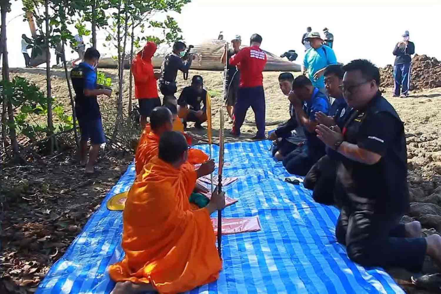 Four monks chant a prayer during a religious rite on Monday for the dead Bruda whale, on the beach in the background, behind Tessaban Bang Poo 2 School in Samut Prakan's Muang district. (Photo by Sutthiwit Chayutworakan)