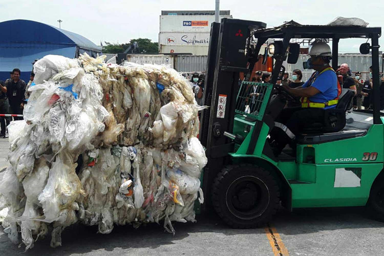 Plastic import at an industrial park in Lat Krabang district of Bangkok. (Police file photo)