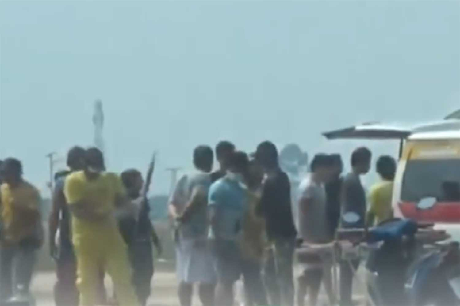 Rescue volunteers prepare to take a 30-year-old Danish man, badly injured after his parachute failed to open, to hospital in Sri Racha on Saturday. He died there of his injuries. (Screenshot from Workpoint TV)