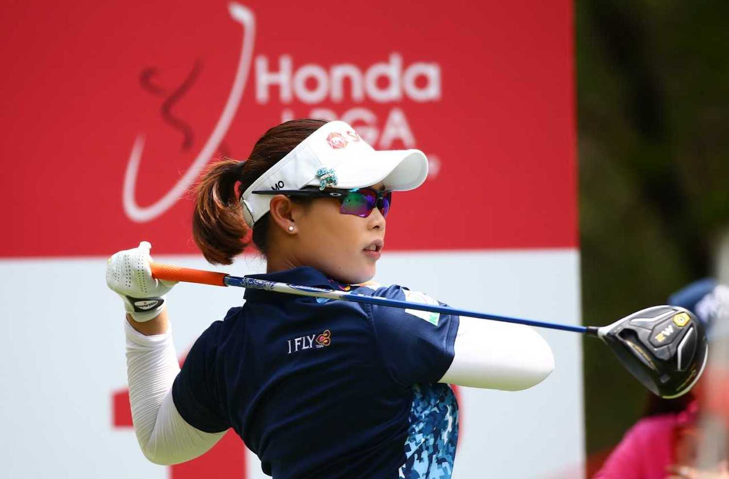Moriya Jutanugarn of Thailand tees off during the second round off the Honda LPGA Thailand tournament in Pattaya in February last year. This year's event has been canceled because of concerns about the coronavirus.