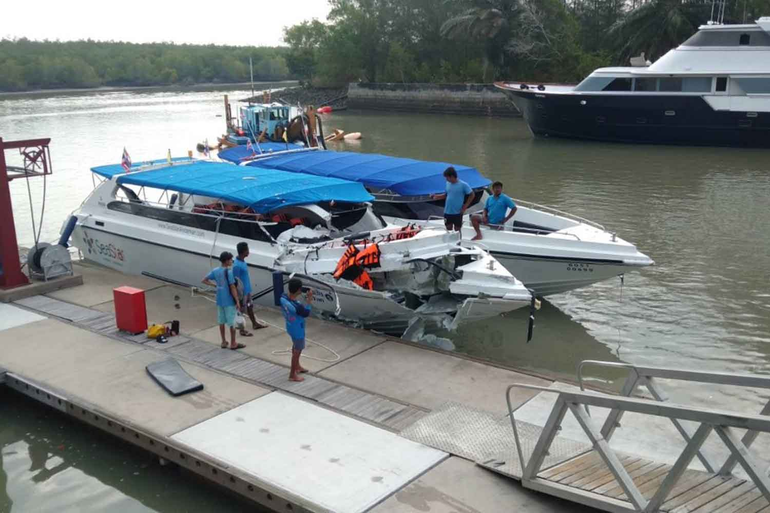The damage to the 'Panan 5', of SeaStar Co, is evident at the dock after it collided with another boat leaving a marina in Phuket on Monday morning. (Marine police photo)