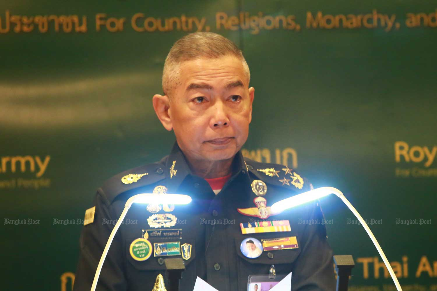 Army chief Gen Apirat Kongsompong during his press conference at Royal Thai Army headquarters in Bangkok on Tuesday. (Photo by Somchai Poomlard)