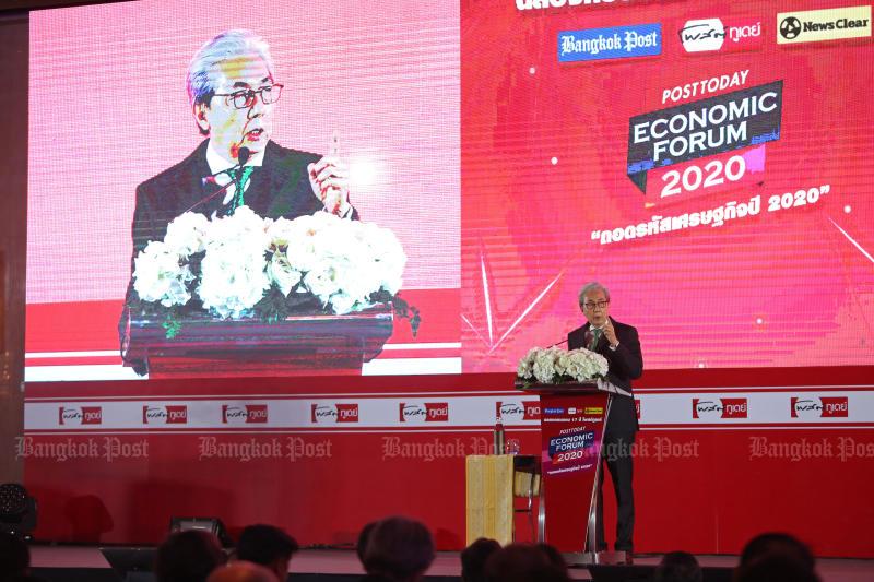 File photo: Deputy Premier Somkid Jatusripitak speaks at the Post Today Economic Forum 2020 in Bangkok on Feb 6. (Bangkok Post photo)