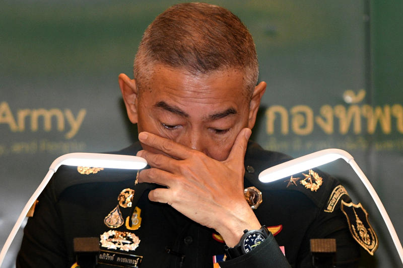 Army chief Gen Apirat Kongsompong reacts during a news conference in Bangkok on Tuesday following last weekend's shooting rampage by a soldier at a mall in Nakhon Ratchasima. (Reuters photo)