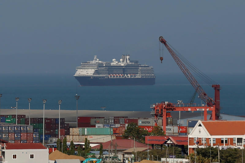 The Westerdam arrives in Sihanoukville port in Cambodia on Thursday morning, after being turned away by five countries over fears that someone aboard may have the coronavirus. (Photo: Reuters)