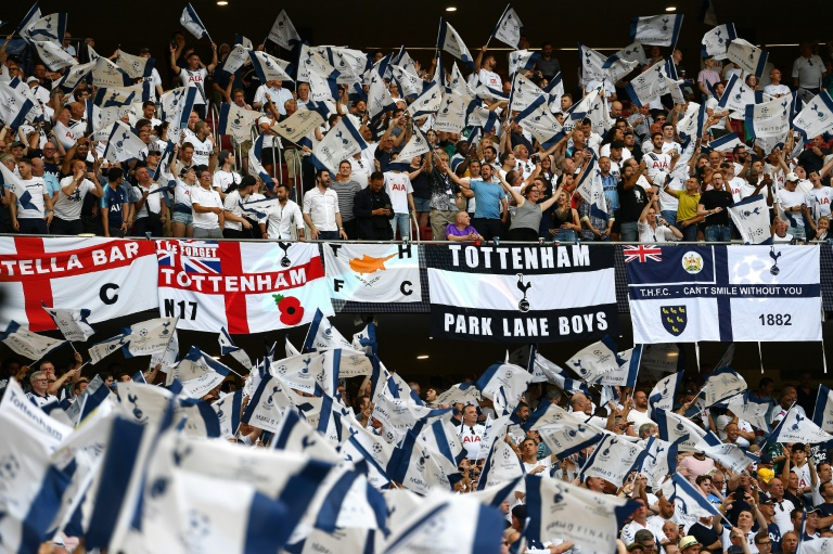 Tottenham Hotspur fans cheer their team before the UEFA Champions League final football match against Liverpool in Madrid in June 2019.