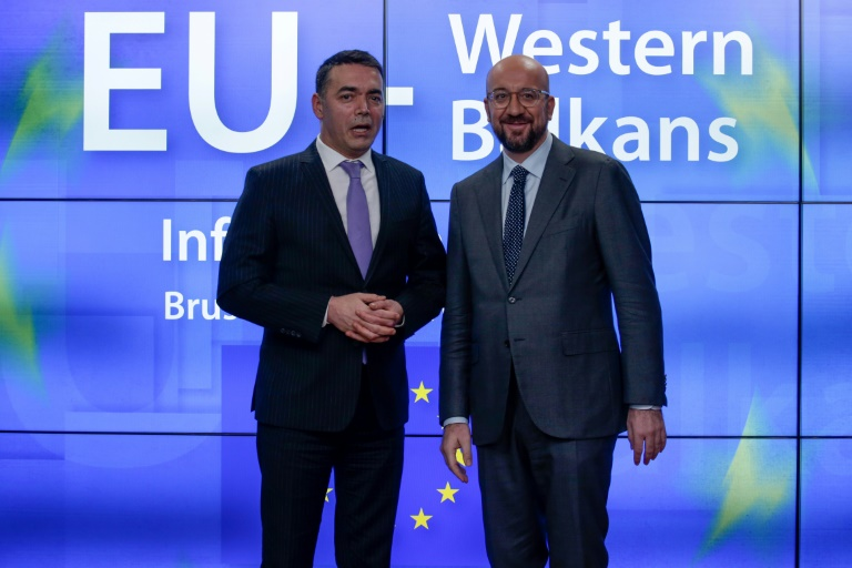 North Macedonia's Foreign Minister Nikola Dimitrov (left) was among Balkan nation leaders who met European Council President Charles Michel for talks.