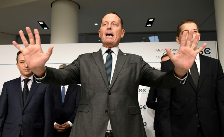 US Ambassador to Germany Richard Grenell (centre, pictured Feb 14, 2020) said President Donald Trump told him that allies who use Huawei
