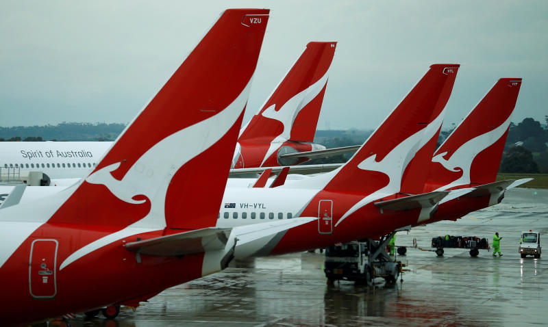 Qantas aircraft are seen on the tarmac at Melbourne International Airport in Melbourne. (Reuters file photo)