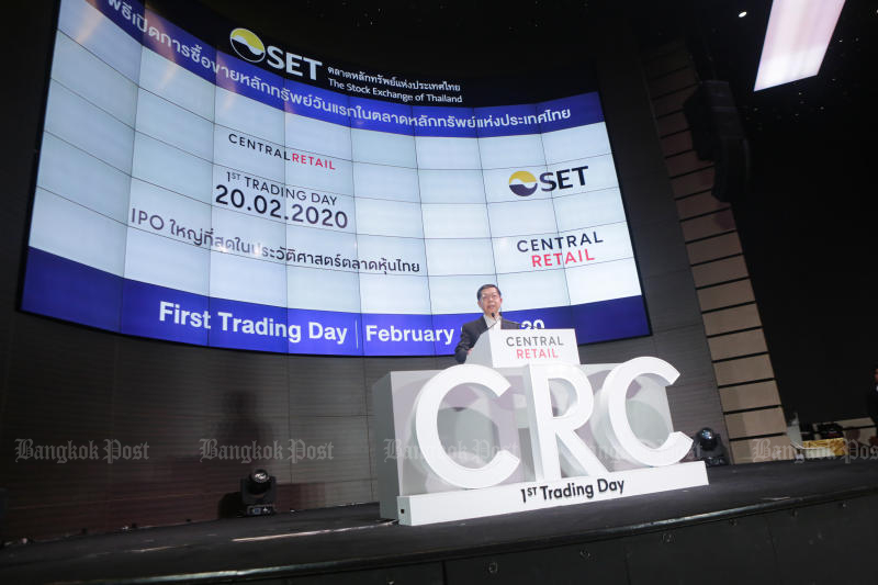 Central Retail Corporation chairman Prasarn Trairatvorakul speaks during the ceremony to launch trading of CRC at the Stock Exchange of Thailand on Thursday. (Post Today photo)
