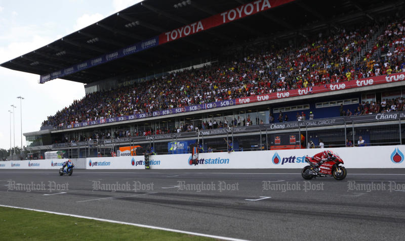 Fans pack Chang International Circuit in Buri Ram on Oct 6, 2019 to watch the Thailand MotoGP. (Photo by Pattarapong Chatpattarasill)