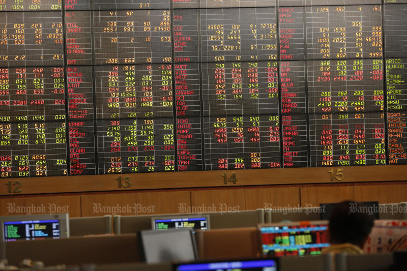 The Stock Exchange of Thailand index ended in the red after the morning session on Monday. (Photo by Pornprom Satrabhaya)