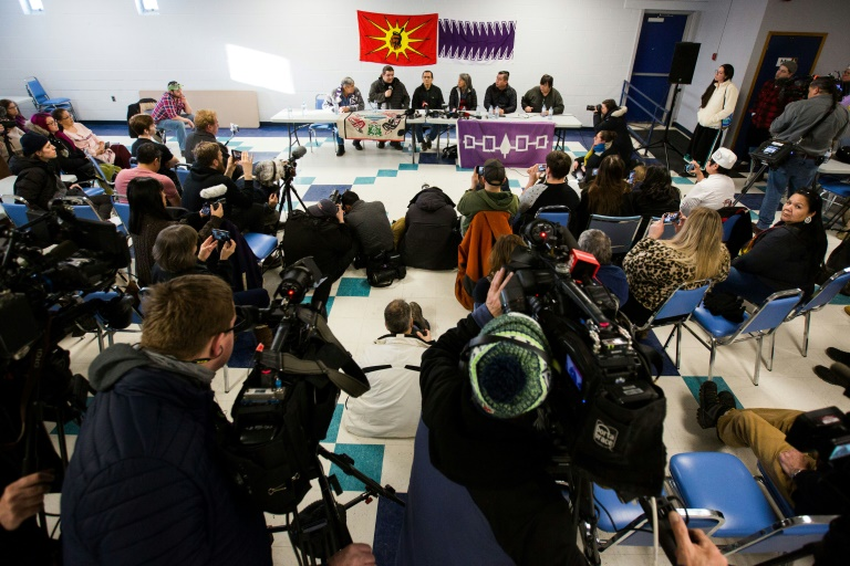 Wet'suwet'en hereditary chiefs and community members address a press conference at the Mohawk Community Centre in Tyendinaga, Ontario, on February 21, 2020 as protests rage against a natural gas pipeline in British Columbia