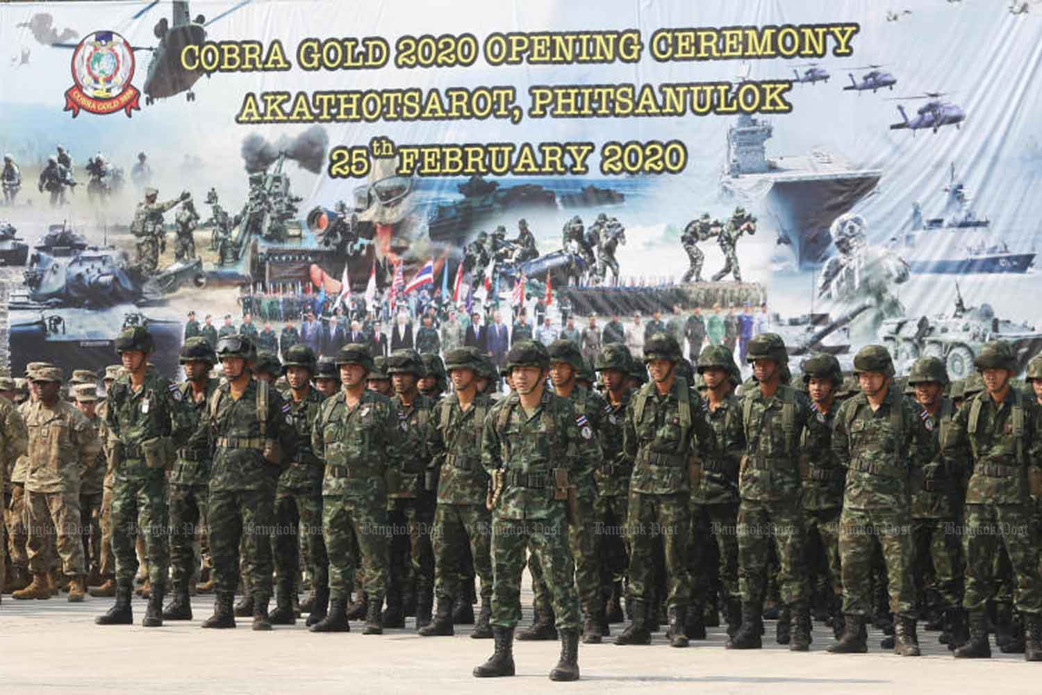 The opening parade of the Cobra Gold 2020 military exercise in the northern province of Phitsanulok on Tuesday. (Photo by Pattarapong Chatpattarasill)