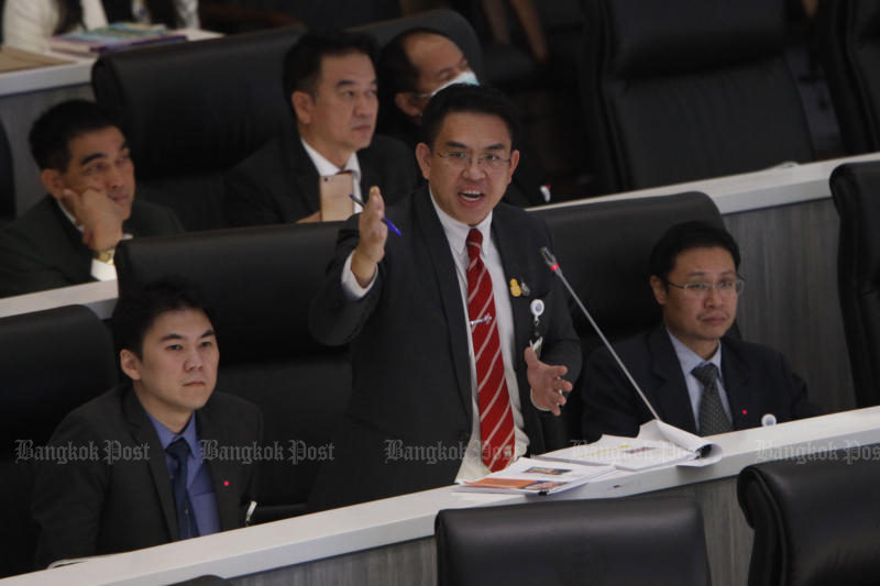 Future Forward MP Wiroj Lakkhanaadisorn questions Prime Minister Prayut Chan-o-cha about the budget earmarked for the military to launch