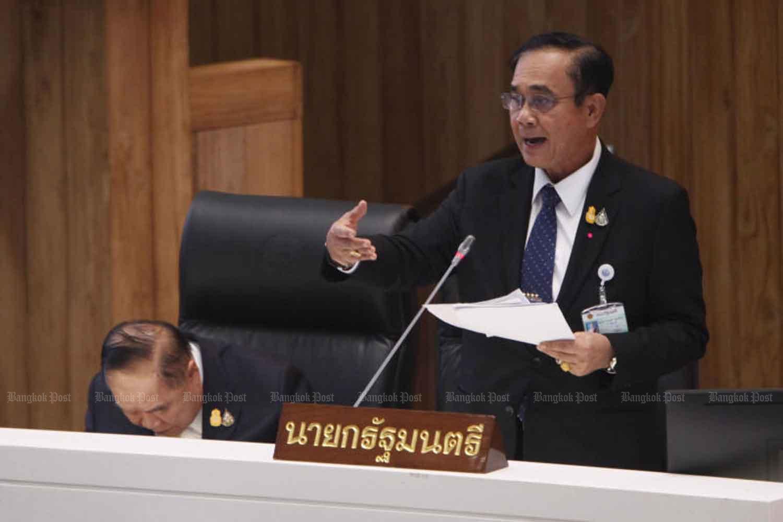 Prime Minister Prayut Chan-o-cha during a censure debate in the parliament, Bangkok. (Photo by Wichan Charoenkiatpakul)