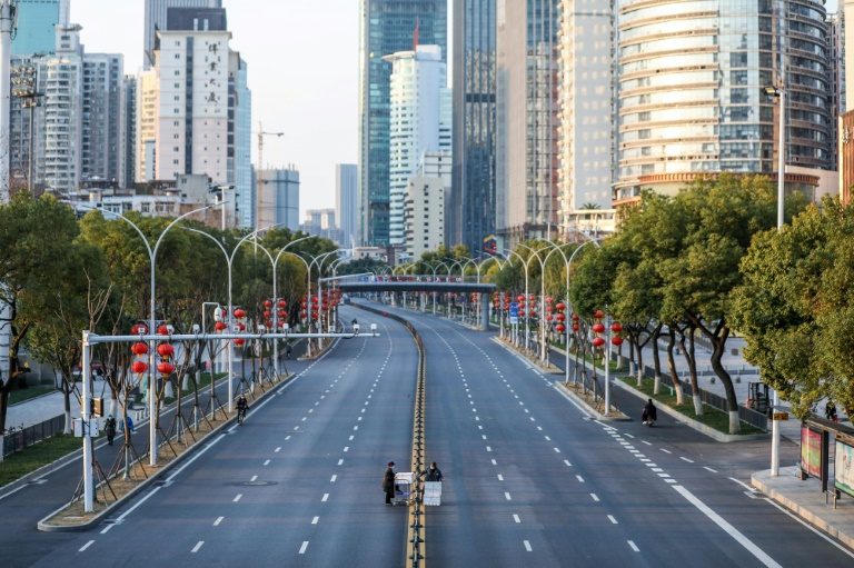 Deserted streets in Wuhan, China reflect an economy at a standstill.