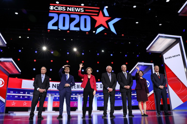 Democratic White House hopefuls are pictured at a televised debate in Charleston, South Carolina on Tuesday.