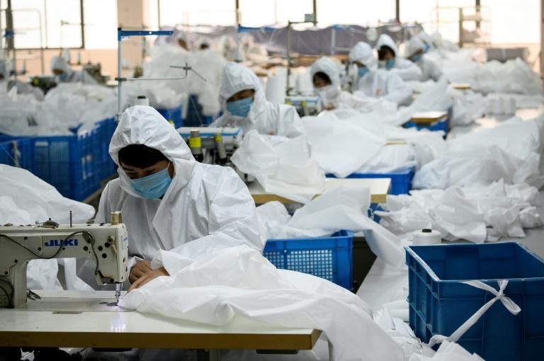 Chinese coat maker adapts to make hazmat suits