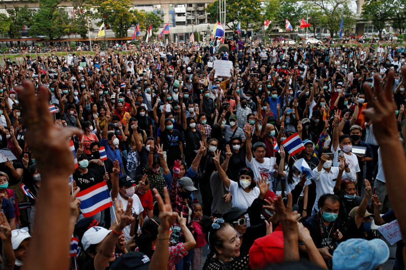 Students protest against the Constitutional Court's decision that dissolved the country's second largest opposition Future Forward party, less than a year after an election to end direct military rule, at Kasetsart University in Bangkok on Saturday. (Reuters photo)