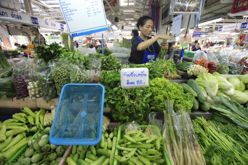 Raw food is one of the items whose prices rose last month. (Bangkok Post photo)