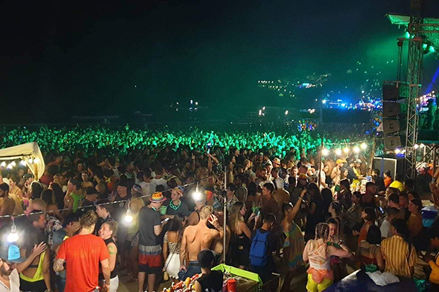 The full-moon party on Rin beach on Koh Phangan is suspended due to fears of the Covid-19 outbreak. (Photo by Supapong Chaolan)