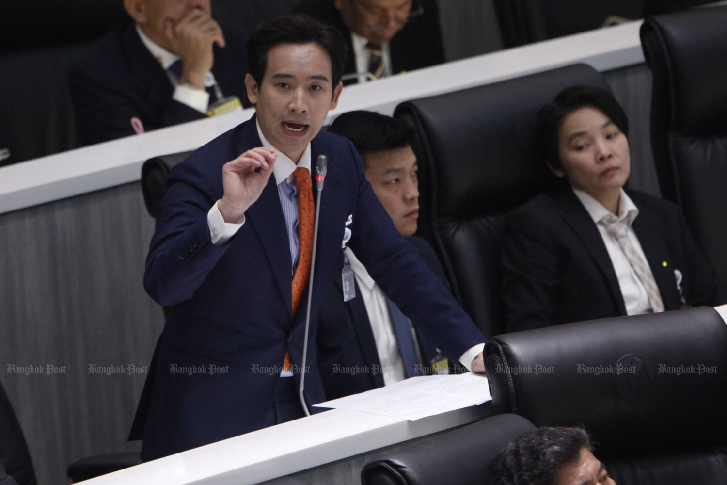 List MP Pita Limjaroenrat, who is touted to lead the remaining MPs of the former Future Forward Party, speaks at Parliament on Feb 24. (Photo by Wichan Charoenkiatpakul)