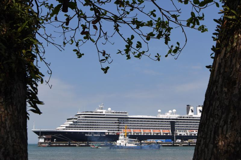 FILE PHOTO: A general view shows the Westerdam cruise ship in Sihanoukville on Feb 19, 2020. Thailand and Malaysia have barred another cruise ship from docking due to fears about the new coronavirus, an official said Sunday.