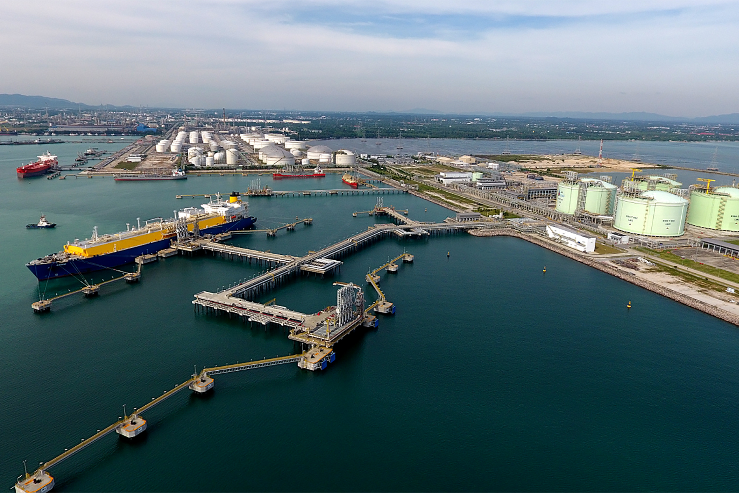 The LNG receiving terminal operated by PTT Plc at Map Ta Phut in Rayong is the country's only gas import site. PTT aims to make the terminal Southeast Asia's trading hub for liquefied natural gas. Photo courtesy of PTT Plc